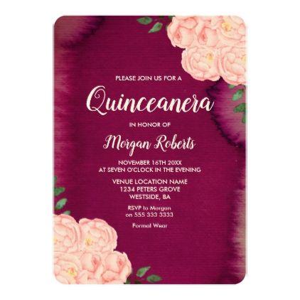 Burgundy Purple Pink Rose Quinceanera Invite 295 by Nicheandnest