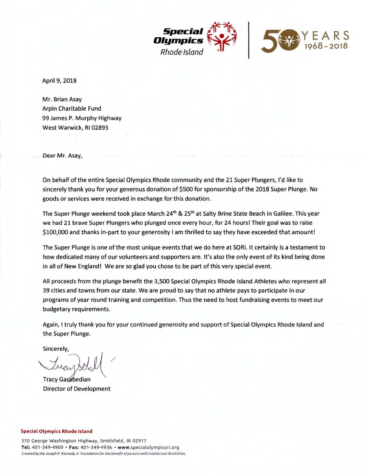 Thank You Letter From The Special Olympics Rhode Island For Our
