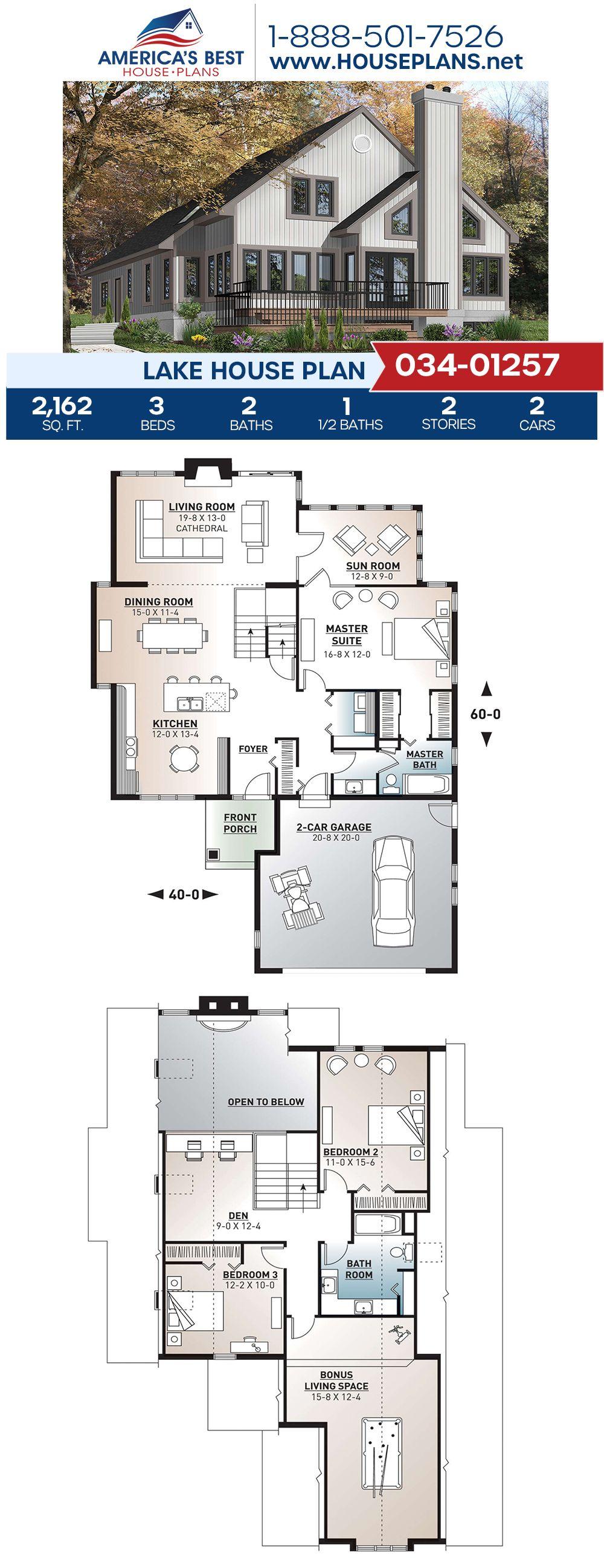 House Plan 034 01257 Lake Front Plan 2 162 Square Feet 3 Bedrooms 2 5 Bathrooms In 2020 Lake House Plans Lake House House Blueprints