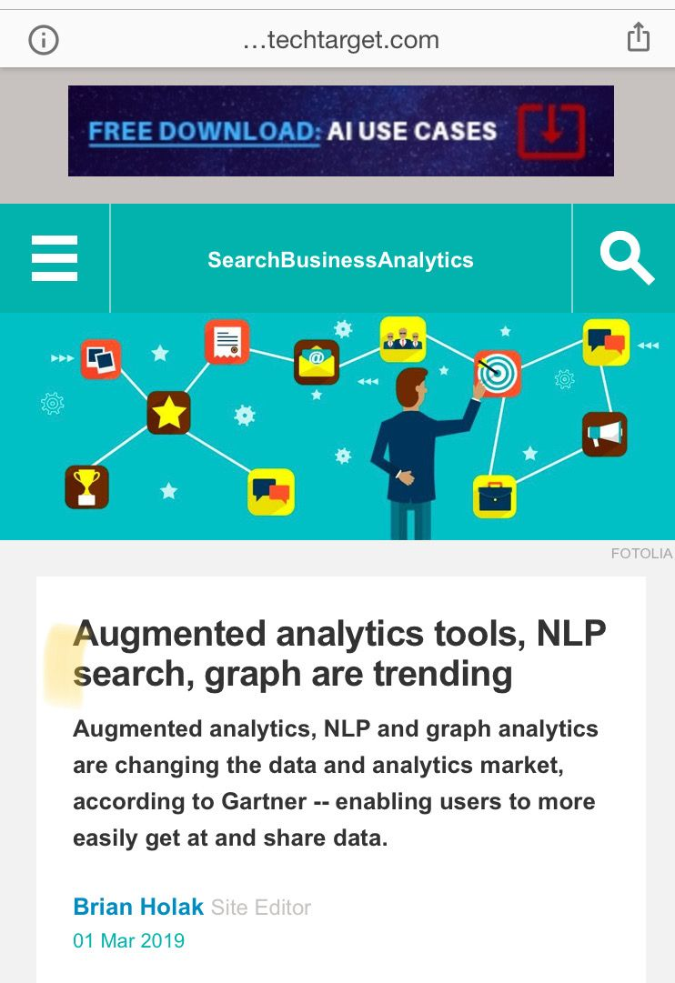 Augmented analytics tools, NLP search, graph are trending ...