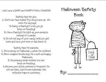 Halloween Safety Interactive Mini Book Halloween Preschool Halloween Kindergarten Mini Books
