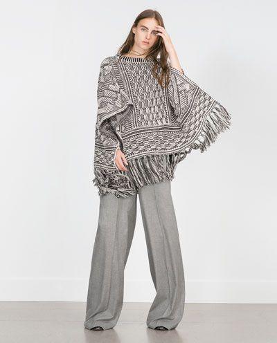 06b934bb FRINGED PONCHO-View all-Knitwear-WOMAN | ZARA United States | Oh! So ...