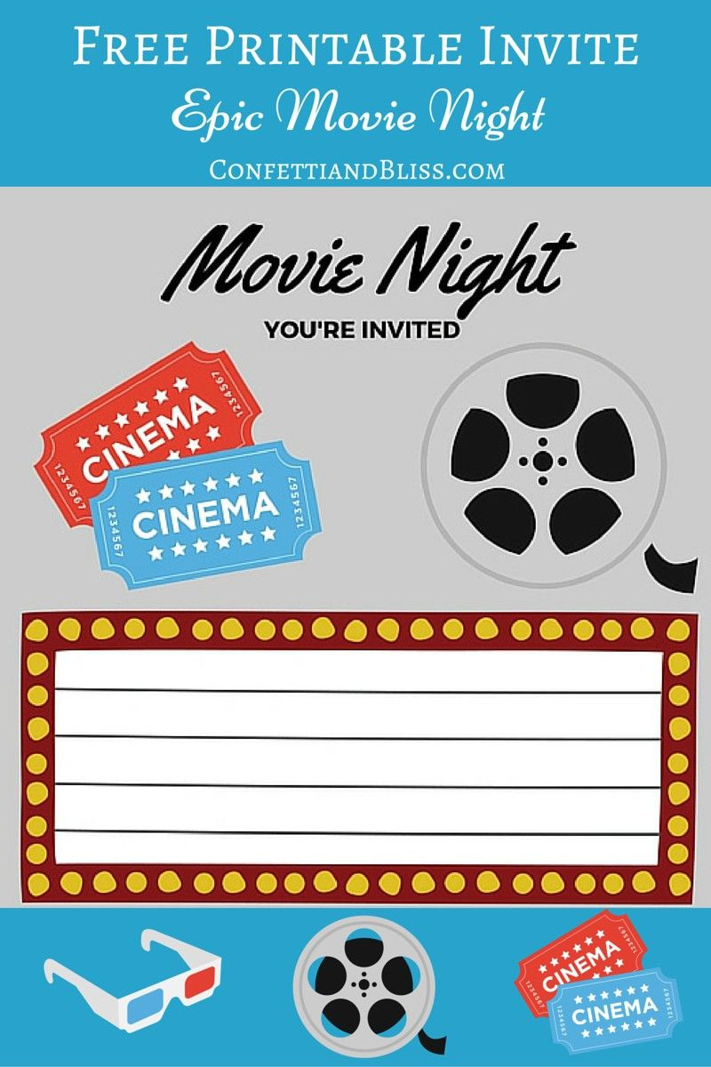 Free Printables  For Him  Movie Night Invitations, Movie -8316