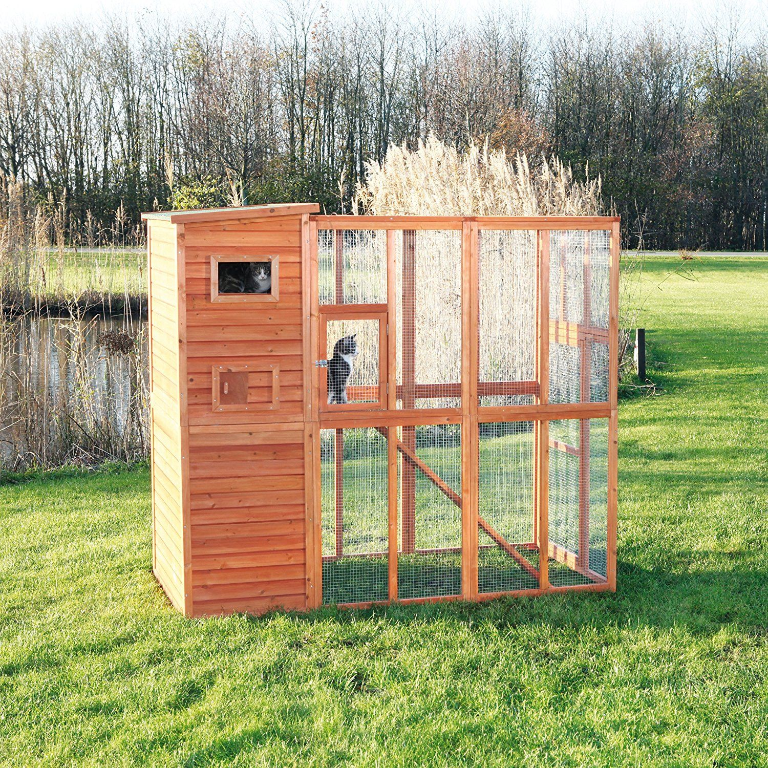 trixie pet products wooden outdoor cat sanctuary enclosed backyard