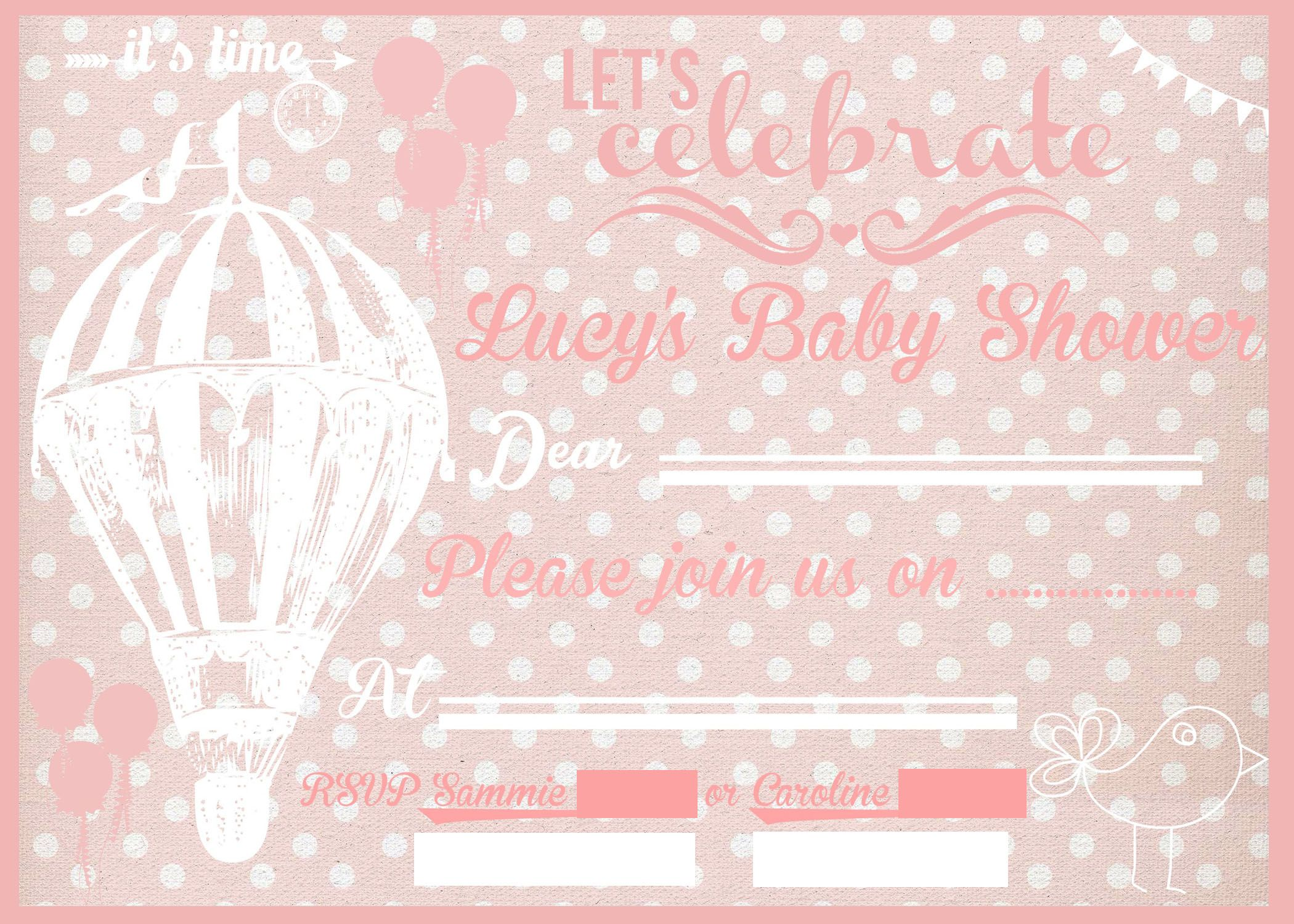 Baby Shower Invite for a GIRL Creaed using Rhonna app and shop