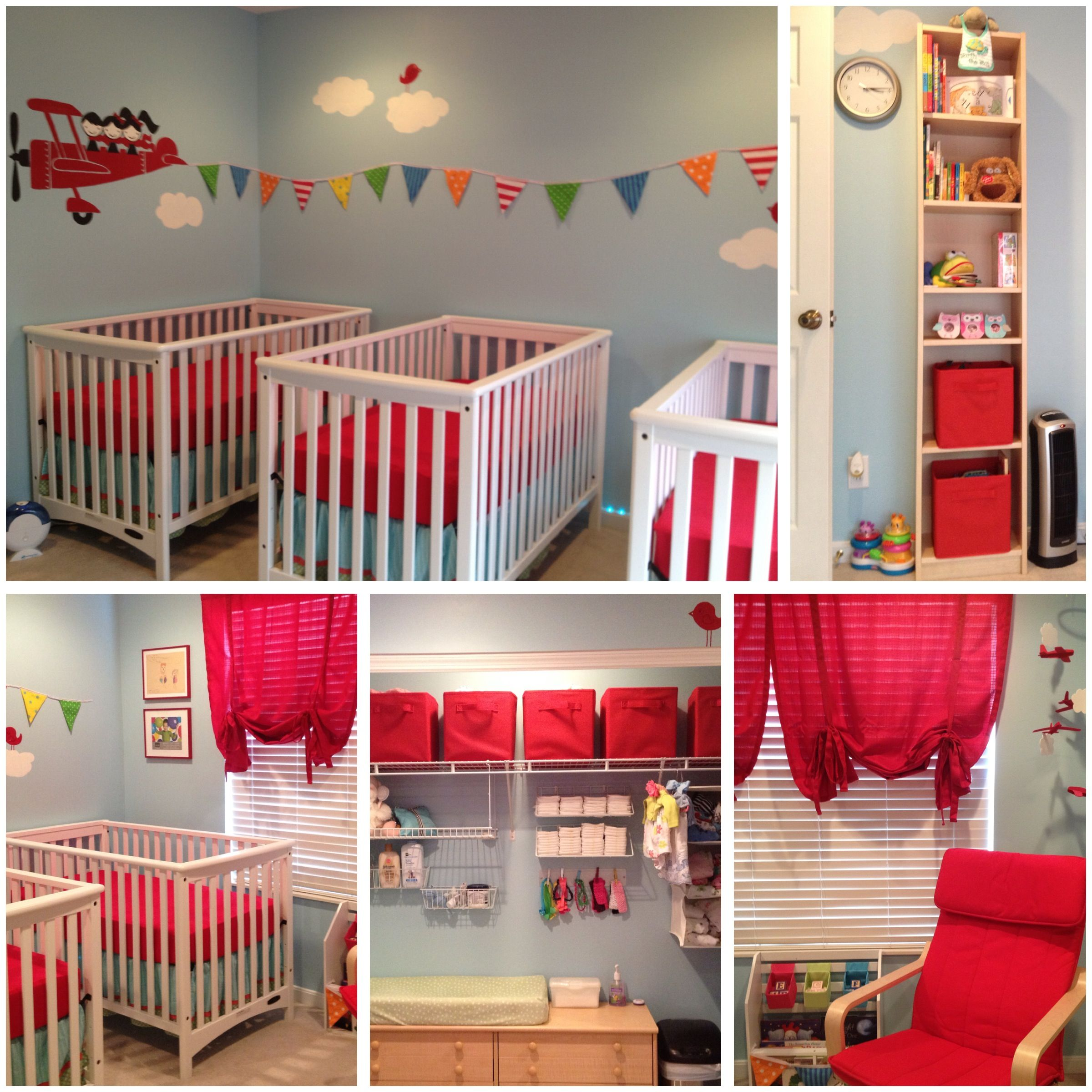 Crib for triplet babies - Triplet Airplane Theme Nursery Love The Way They Have The Cribs