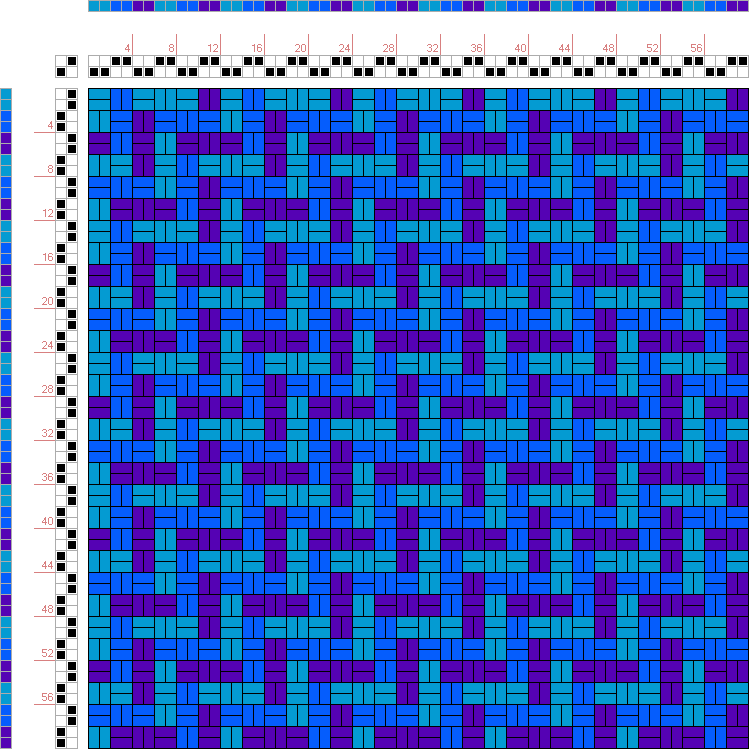 draft image: Figurierte Muster Pl. XXII Nr. 1, Die färbige Gewebemusterung, Franz Donat, 2S, 2T - this could be done with warp/weft doubled, or with string heddles, or just with warp/weft being just one end - in which case I'd use a dk/sport weight w/my 10 dent heddle.