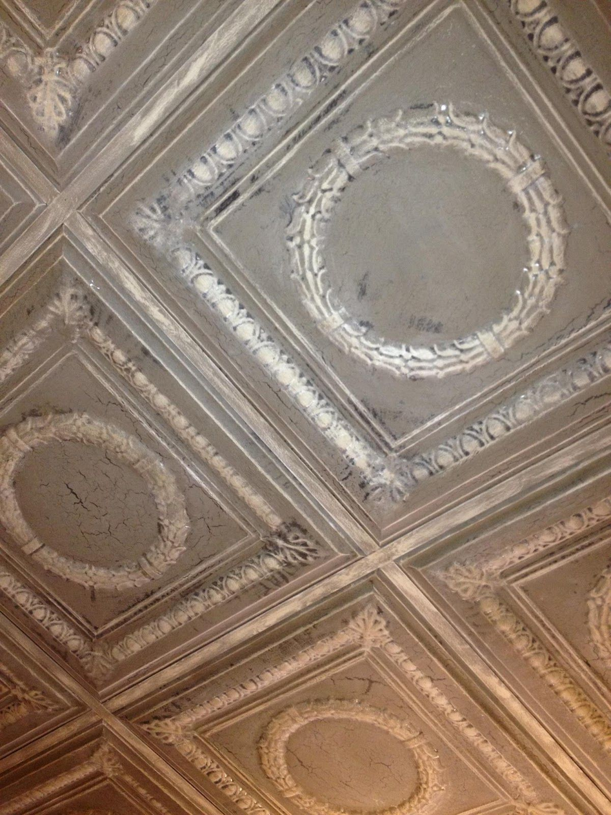 Painted ceiling tiles ceiling tile craft ideas pinterest this is a tin ceiling tile painted with graphite french linen and old white chalk paint and then cracked with easy crackle dailygadgetfo Images