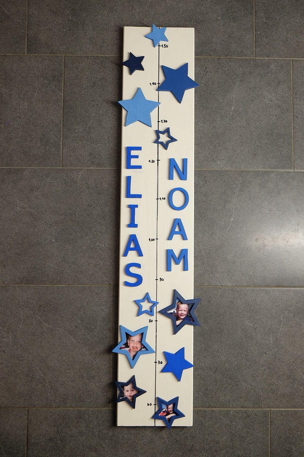 Handmade Personalisierte Messlatte mit Sternen Motiven
