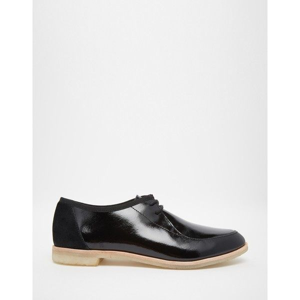 Clarks Originals Black Patent Phenia Point Flat Shoes ($117) ❤ liked on Polyvore