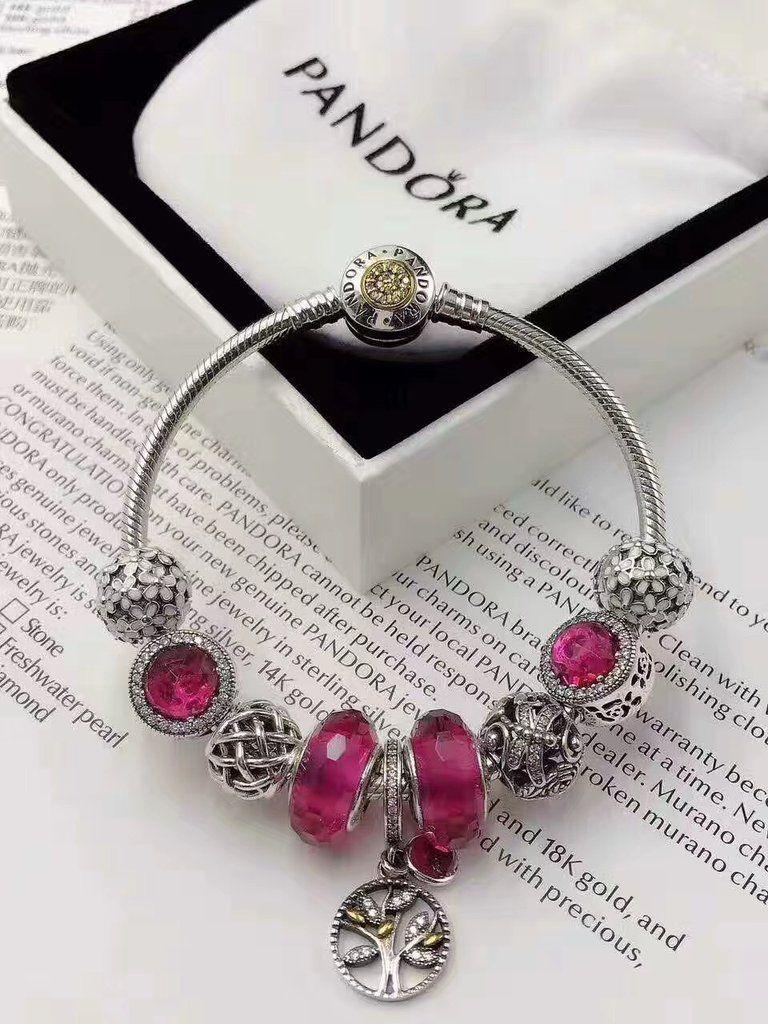 Authentic Pandora Charm Bracelet With 9 Pcs Pink Flower Theme Charms Pandora Charms Pandora Charm Bracelet Charm Bracelet