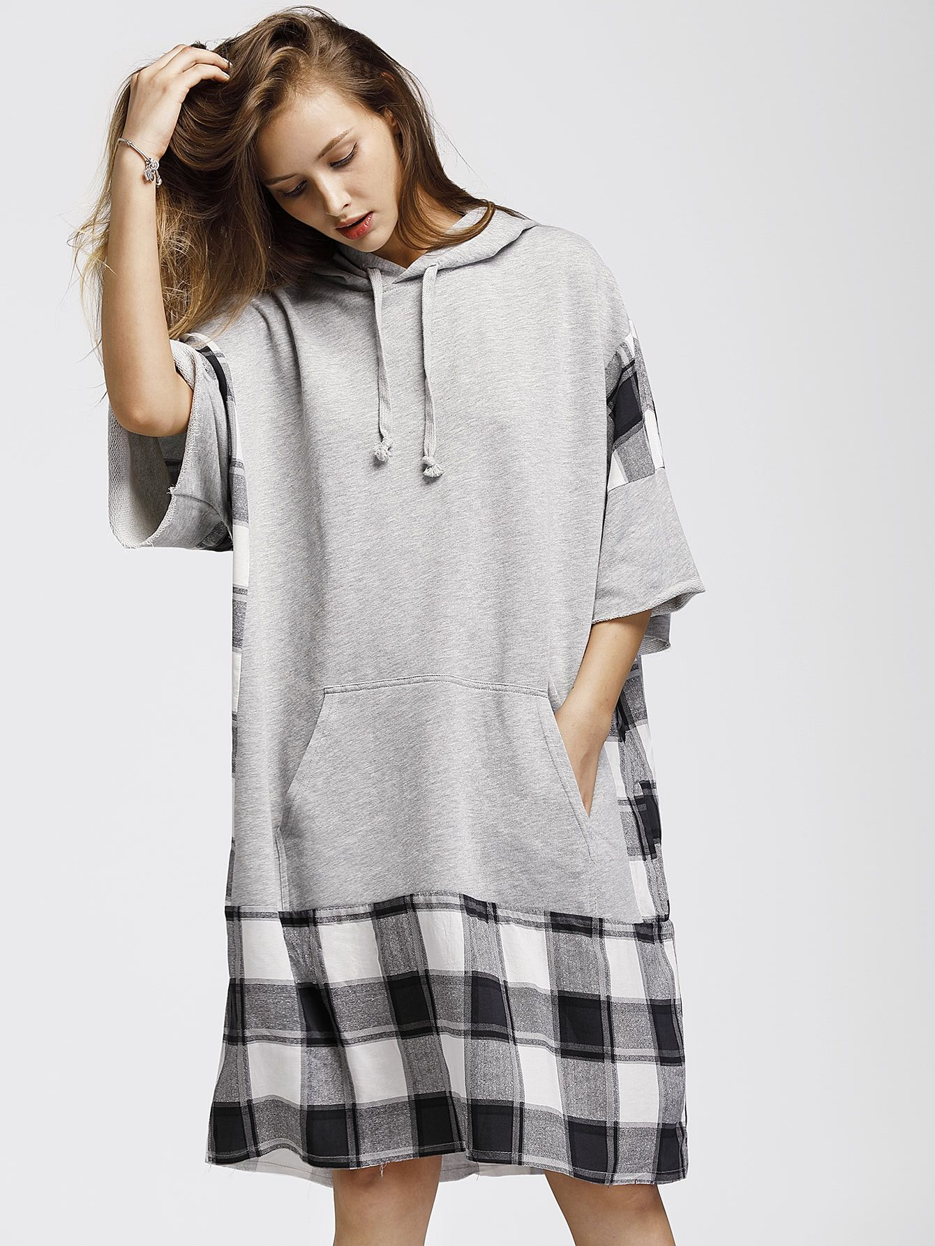 Check Plaid Panel Raw Edge Marled Hooded Dress | Vestidos ...