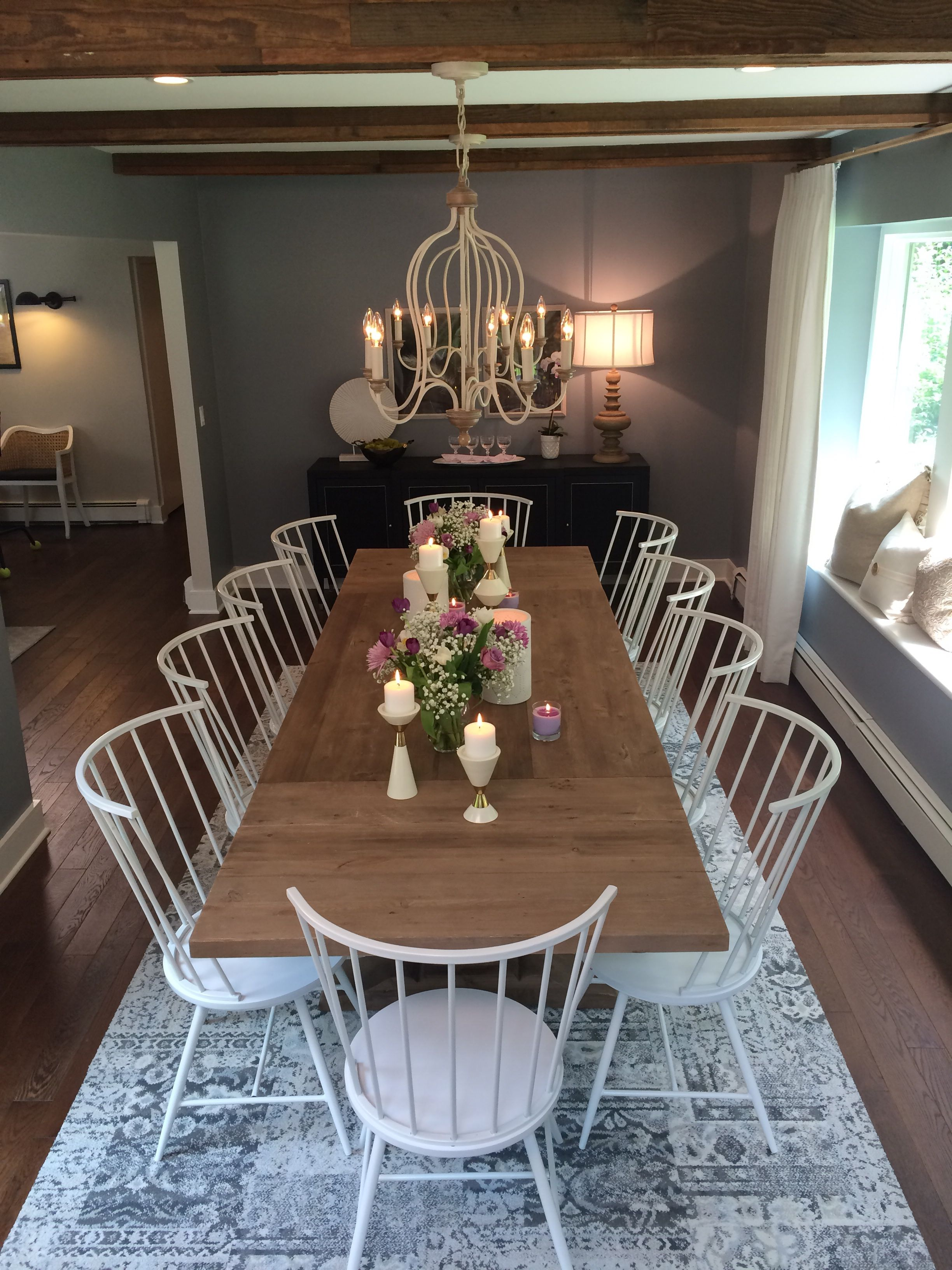 The Hartsville Chandeliers From Feiss As Seen In This Farmhouse Dining Room Designed By Property Brothers