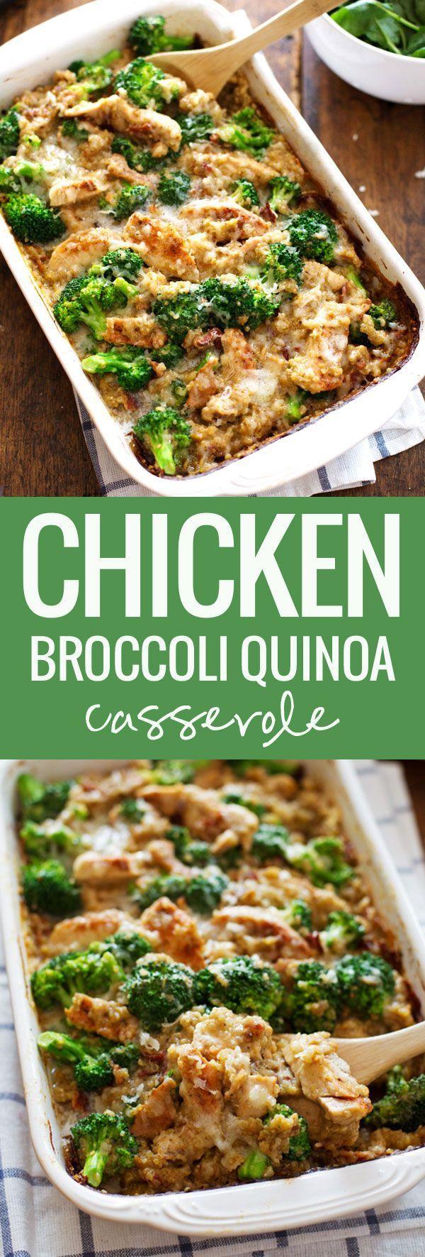 Creamy Chicken Quinoa and Broccoli Casserole - Pinch of Yum