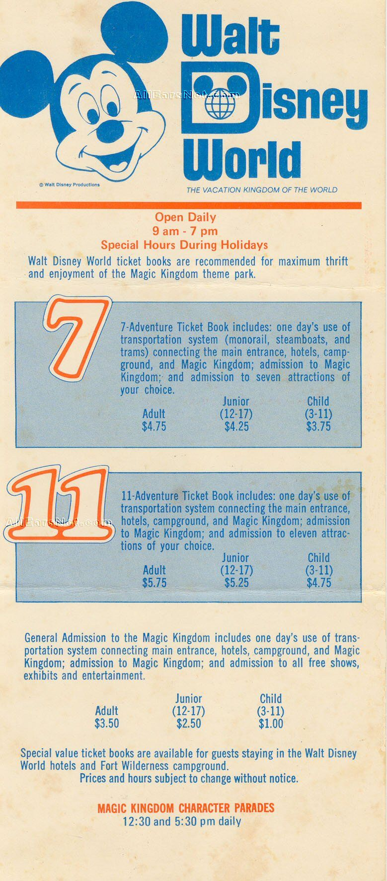 1971 Ticket Flyer Disney World Tickets Walt Disney World Tickets Magic Kingdom Tickets