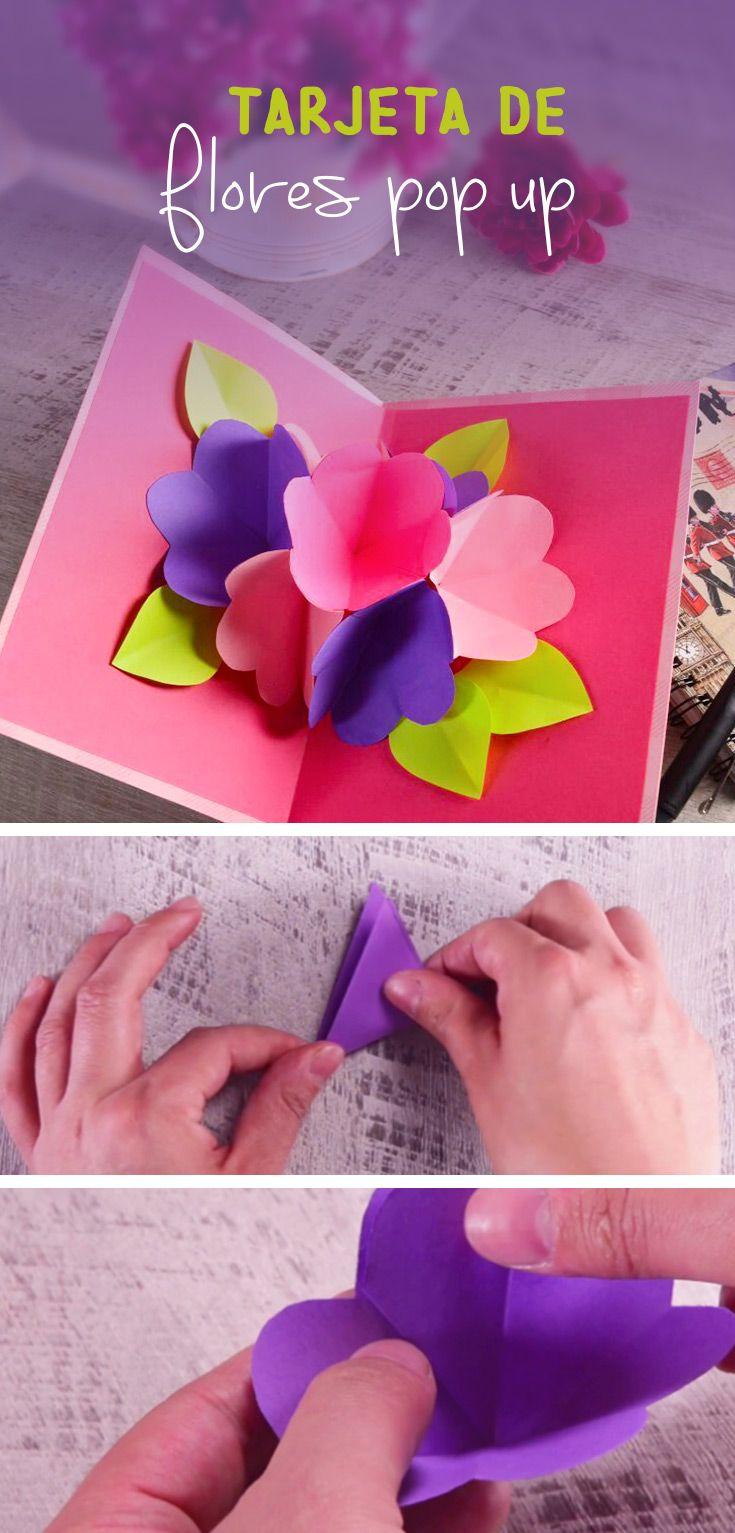 Tarjeta De Flores Pop Up Manualidades Tarjeta Tarjetas Con Flores