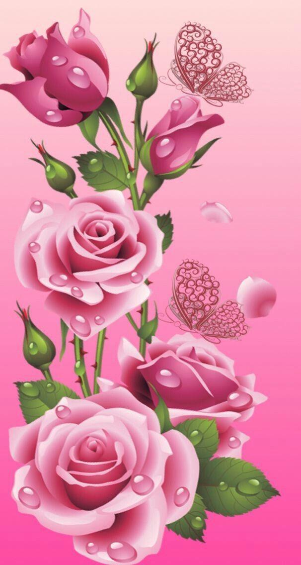 Pin by dawndonyou on butterflies dragonflies flower - Pink rose wallpaper iphone ...