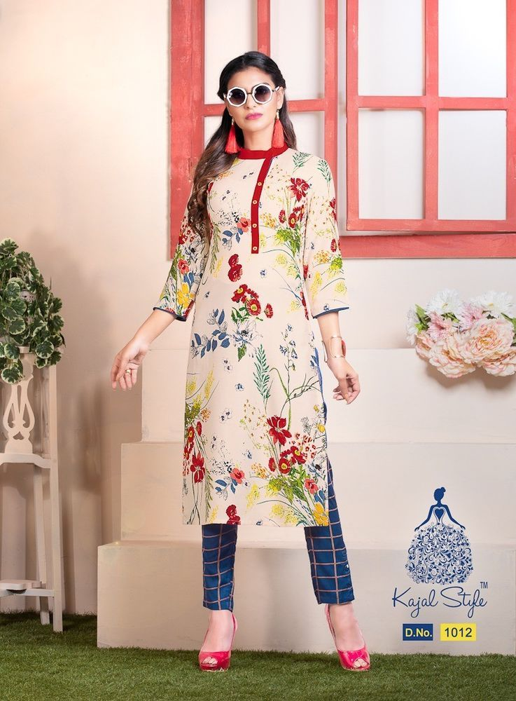 Indian kurta Kurti With Pant Dress Kurta TopTunic Set blouse Combo Ethnic Bottom