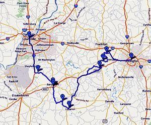 Bourbon Trail Driving Map Kentucky Bourbon Trail Map Road