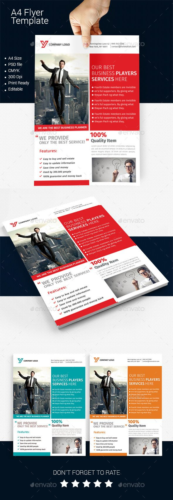 A4 Business Flyer Template 08 Fonts Logos Icons Pinterest