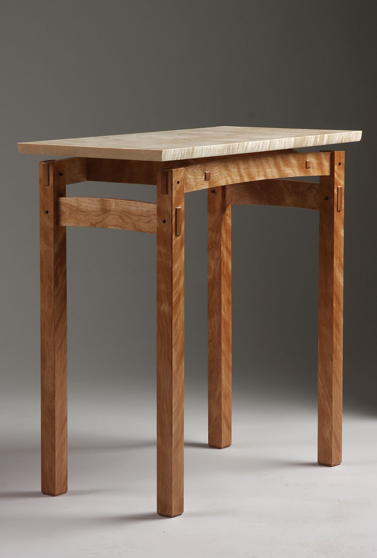 Floating Top Table Design With Flame Birch Base And Curly Maple Top.