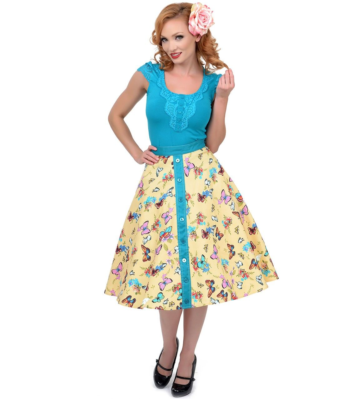 Turquoise & Yellow High Waist Butterfly Swing Skirt