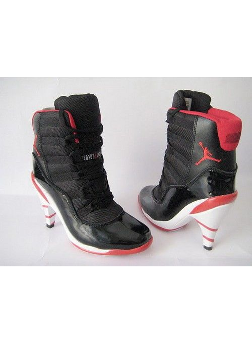 de437a91e7ae New Womens Nike Air Jordan 11 High Black Red Heels