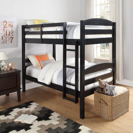 Mainstays Twin Over Twin Wood Bunk Bed, Multiple Finishes in Black - $219.11