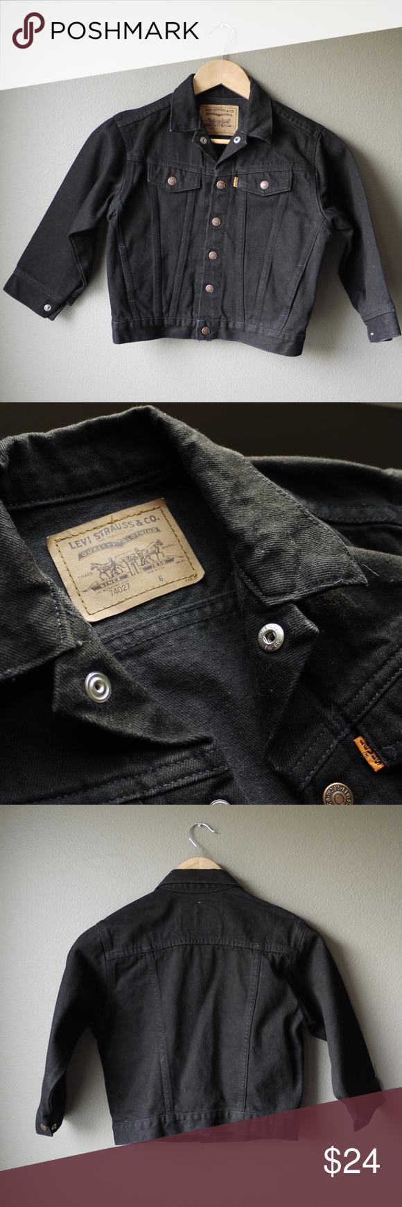 Levi Denim Jean Jacket Boys Or Girls Pinterest Black Denim