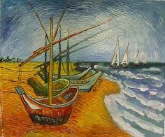 Pintados a mano Paisaje Van Gogh Barco de pesca Comedor/Cuarto de ...