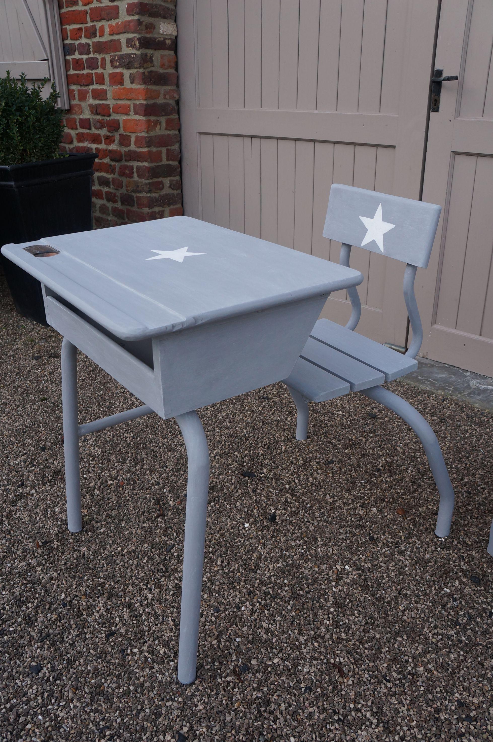 Repeindre Un Bureau D Écolier ancien-pupitre-bureau-écolier-vintage-gris-étoile-blanche