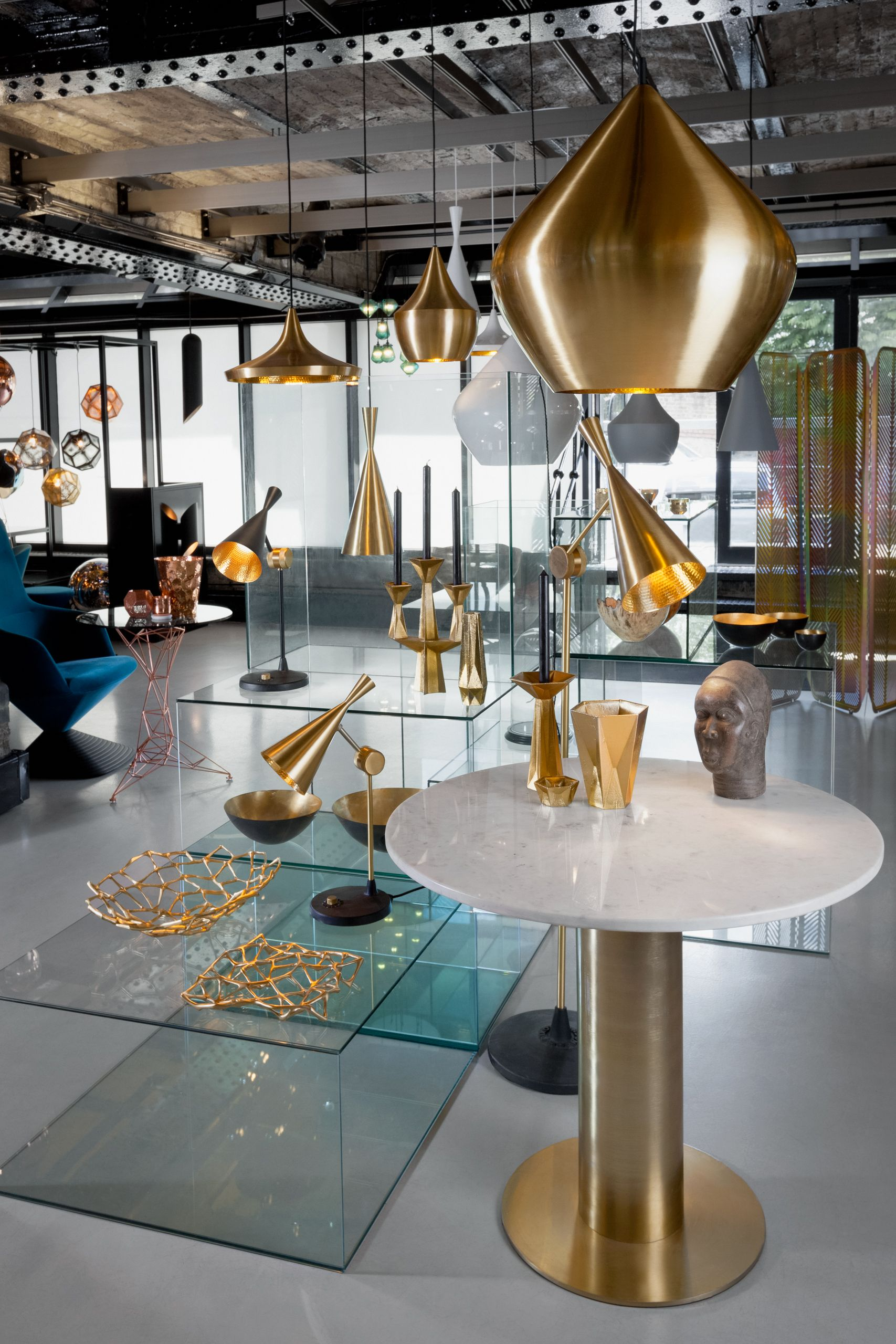 Beat Lights in Brass, Grey, White and Black. Tom Dixon