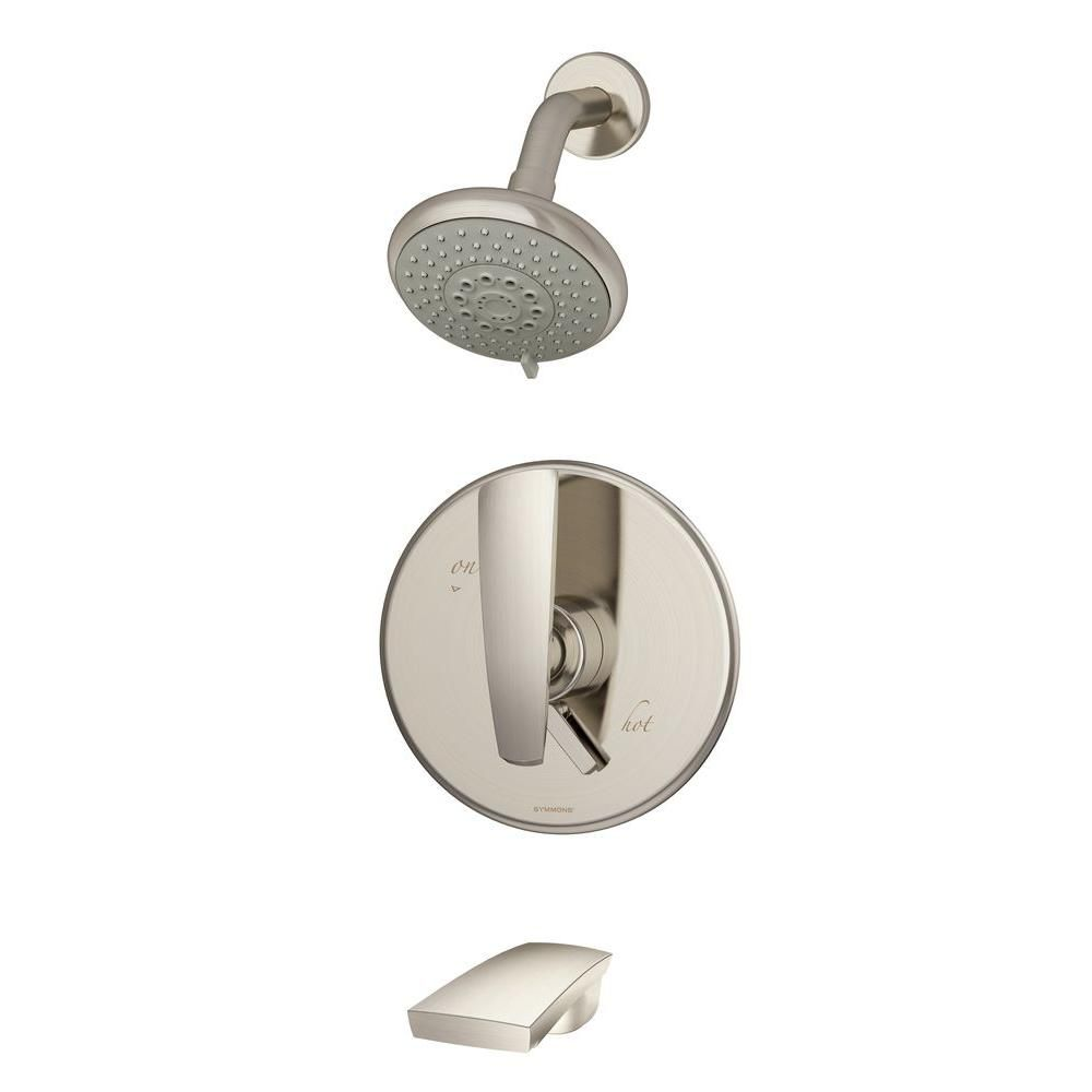 Symmons Naru Single Handle 3 Spray Tub And Shower Faucet In Satin