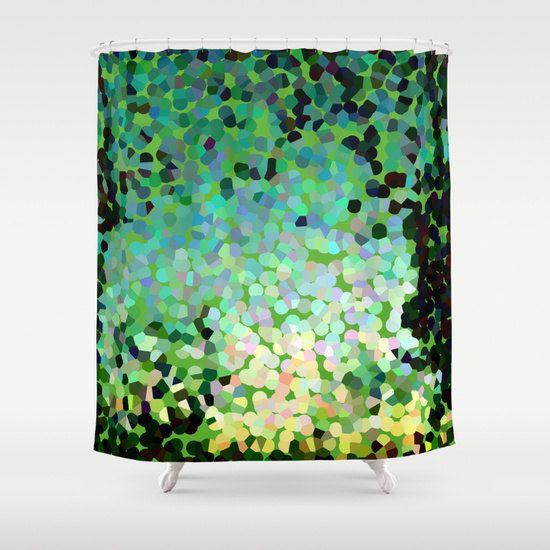 Green Shower Curtain Beautiful Emerald Abstract Art Emerald Isle Bathroom Colorful Green Dots Mosaic Mod Green Shower Curtains Modern Decor Abstract