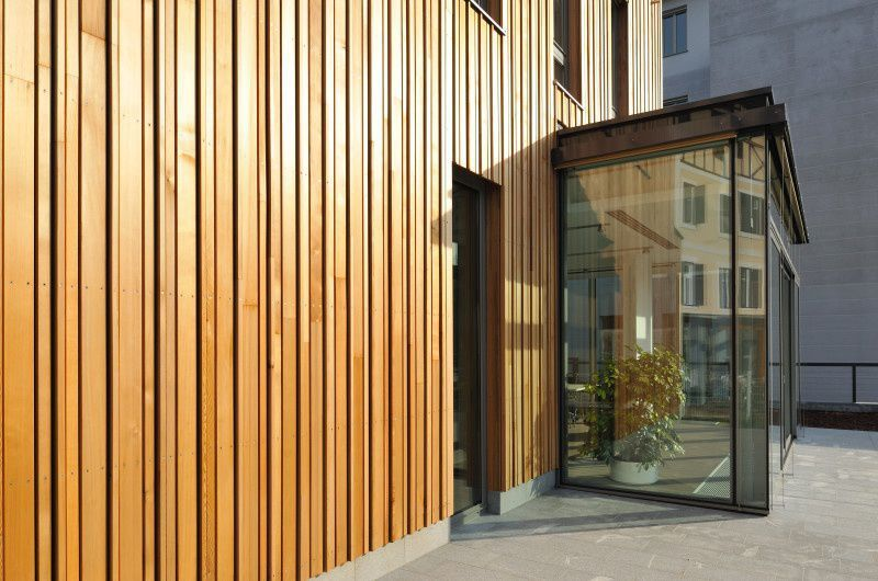 bardage en c dre textur en panneau aspect bois. Black Bedroom Furniture Sets. Home Design Ideas