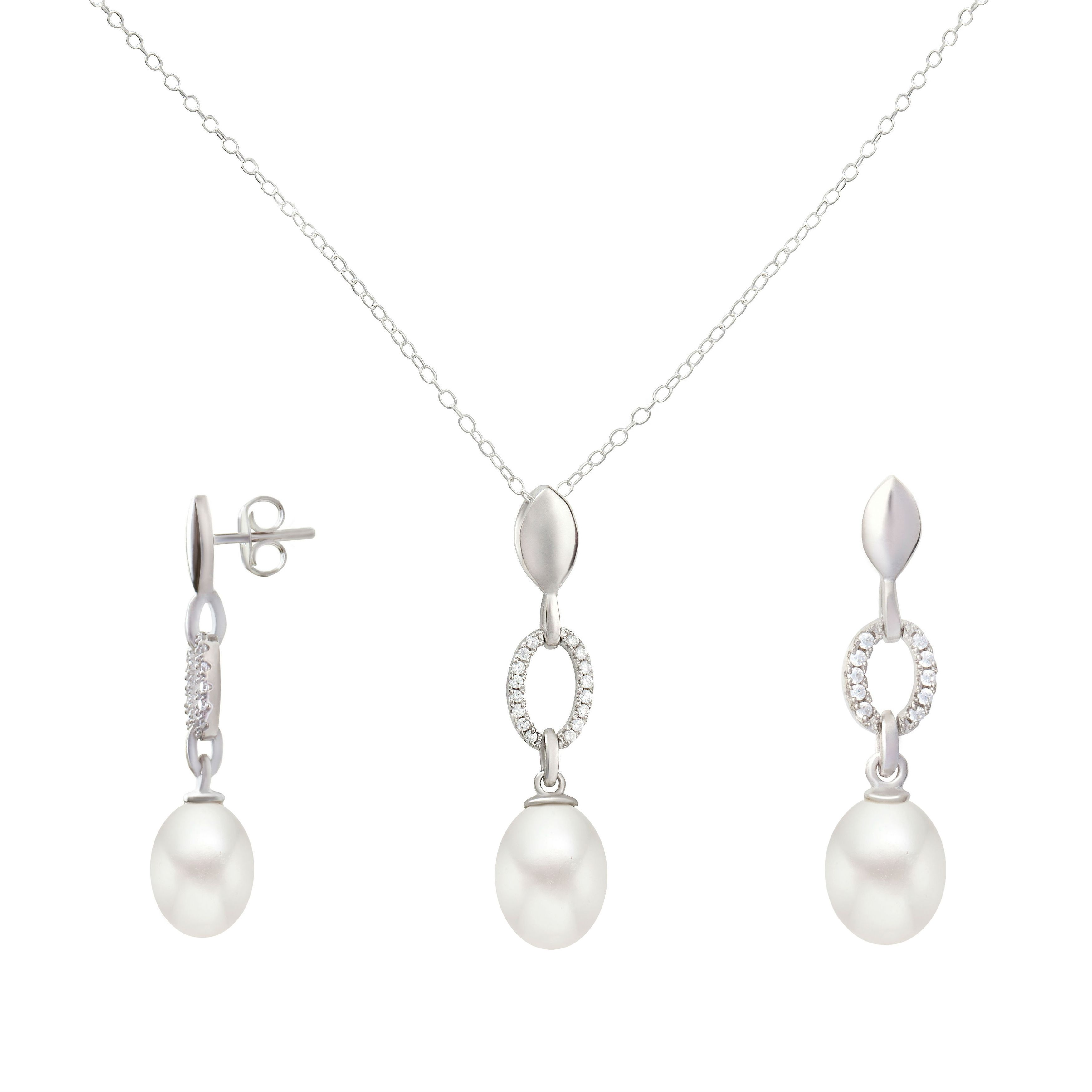 GIG Jewels Sterling White Cultured Freshwater Pearl and CZ Gemstones Necklace Earrings Jewelry set