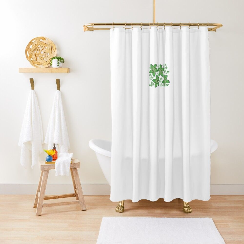Green Flowers Shower Curtain By Agreen4 In 2020 White Shower