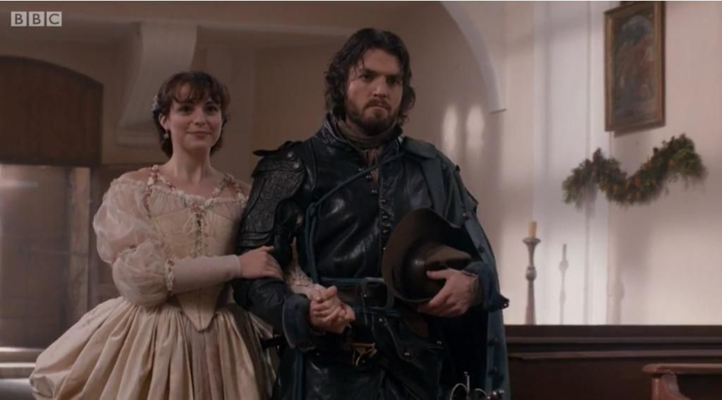 Athos and Constance! I just love the fact that Athos gave her away! And how cute it is that they ate holding hands! !