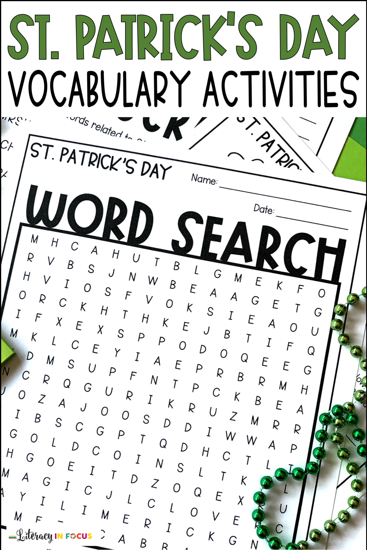 St Patrick S Day Vocabulary Worksheets In