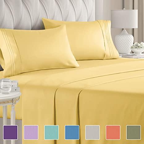 Amazon Com King Size Sheet Set 4 Piece Hotel Luxury Bed Sheets Extra Soft Deep Pockets Easy Fi Luxury Bed Sheets Yellow Bed Sheets Affordable Sheets Extra deep pocket king size sheets