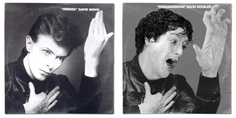 American Werewolf In London David Kessler David Bowie Heroes Vinyl Mash Up Album Parody Art Print By W Famous Album Covers Album Covers Iconic Album Covers