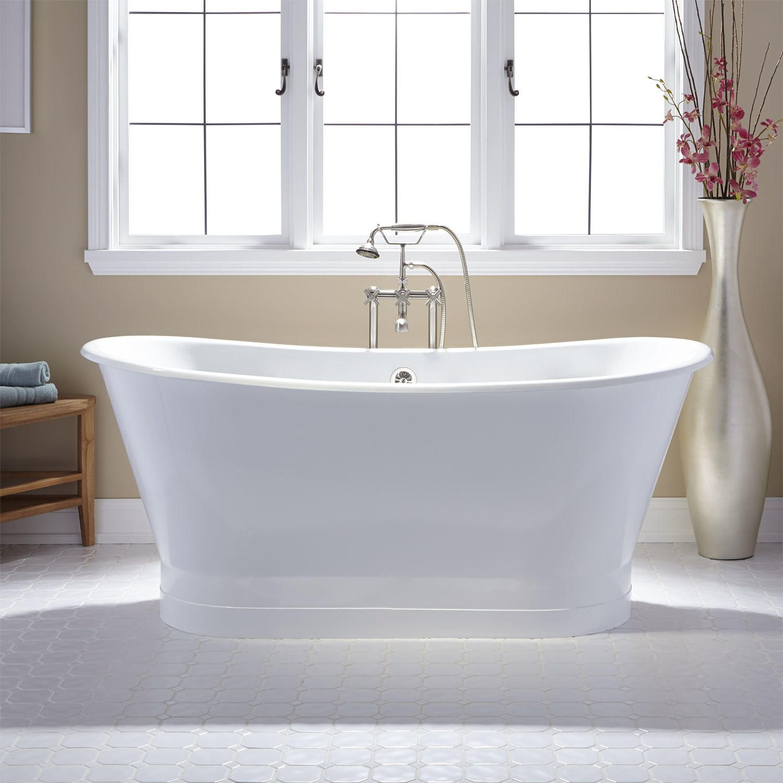 72 Langly Cast Iron Double Slipper Pedestal Tub Bathtubs Bathroom