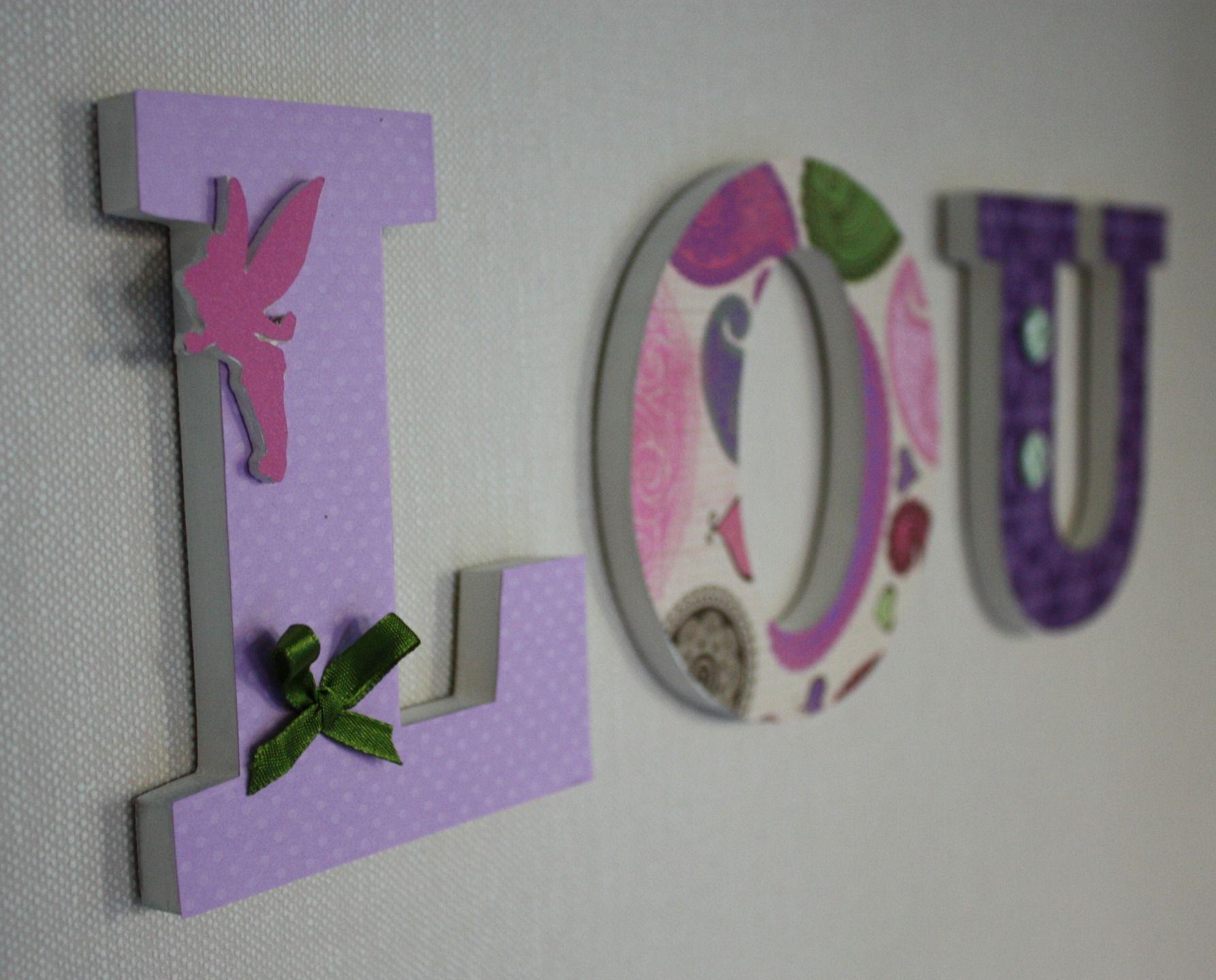 Prénom jade: lettres décoratives en bois rose et parme pour cadeau ...