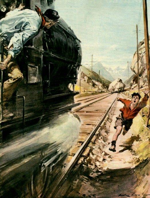 Molino, Walter (b,1915)- Ragazzo Avverte Convoglio del Pericolo- 'La Domenica del Corriere' (