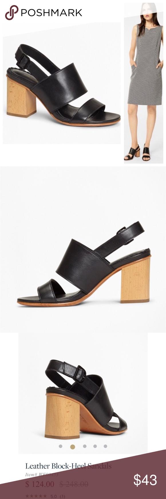 ea8f86180ec BROOKS BROTHERS Leather Block-Heel Sandals Shoes 7 Designer Brooks Brother  Leather Block-Heel