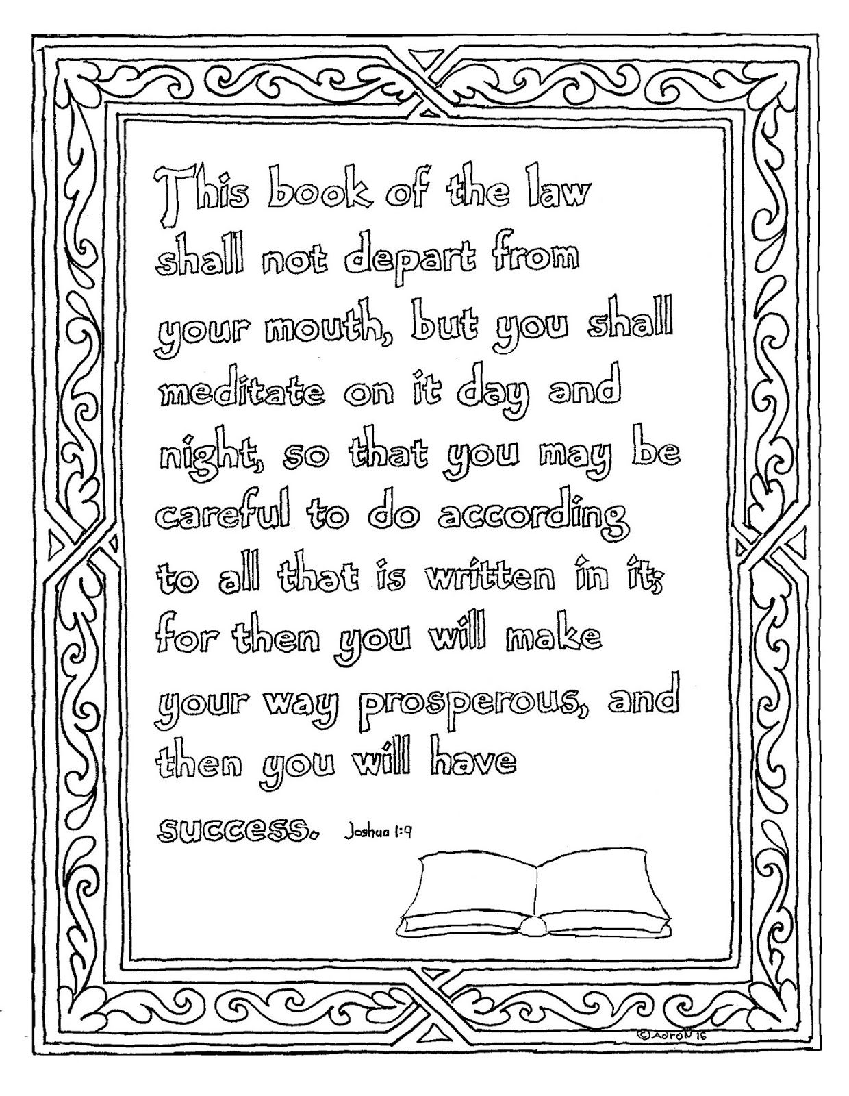 Joshua 1 8 Printable Bible Verse Coloring Page This