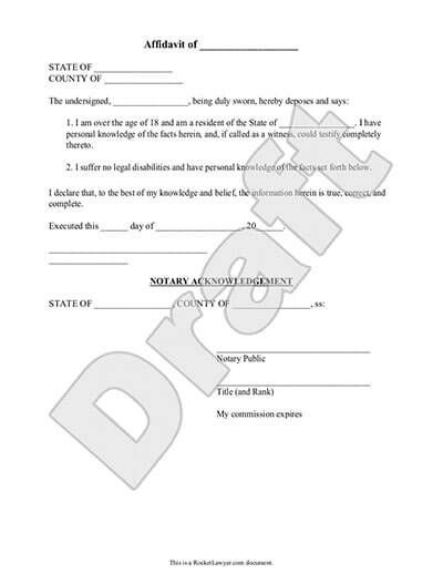 Affidavit Of Facts Template Amazing Sample Affidavit  Ben  Pinterest