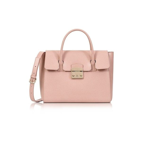 Furla Handbags Moonstone Grained Leather Metropolis Medium Satchel (60765 ALL) ❤ liked on Polyvore featuring bags, handbags, nude, nude purses, flap purse, structured purse, full grain leather purse and pink hand bags