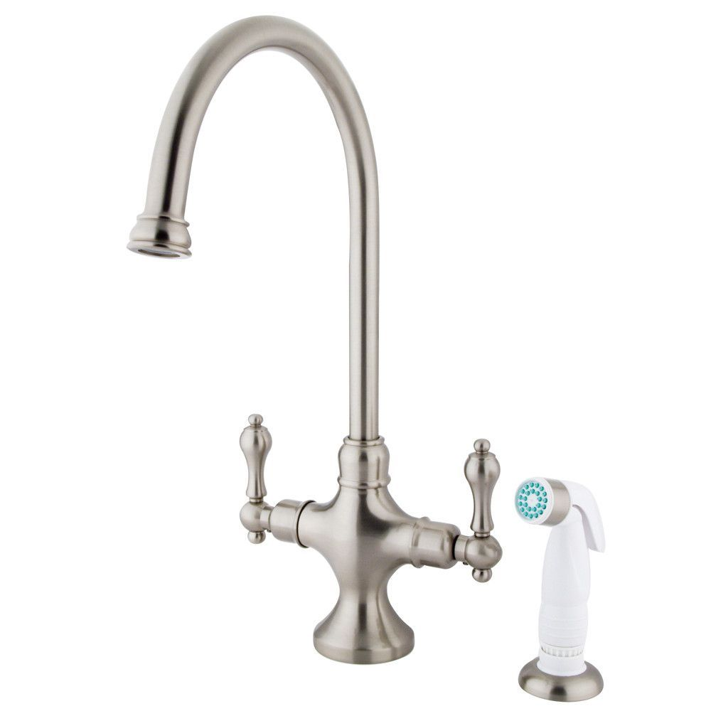 Kingston Satin Nickel Adjustable Spread Kitchen Faucet with Sprayer KS1768AL