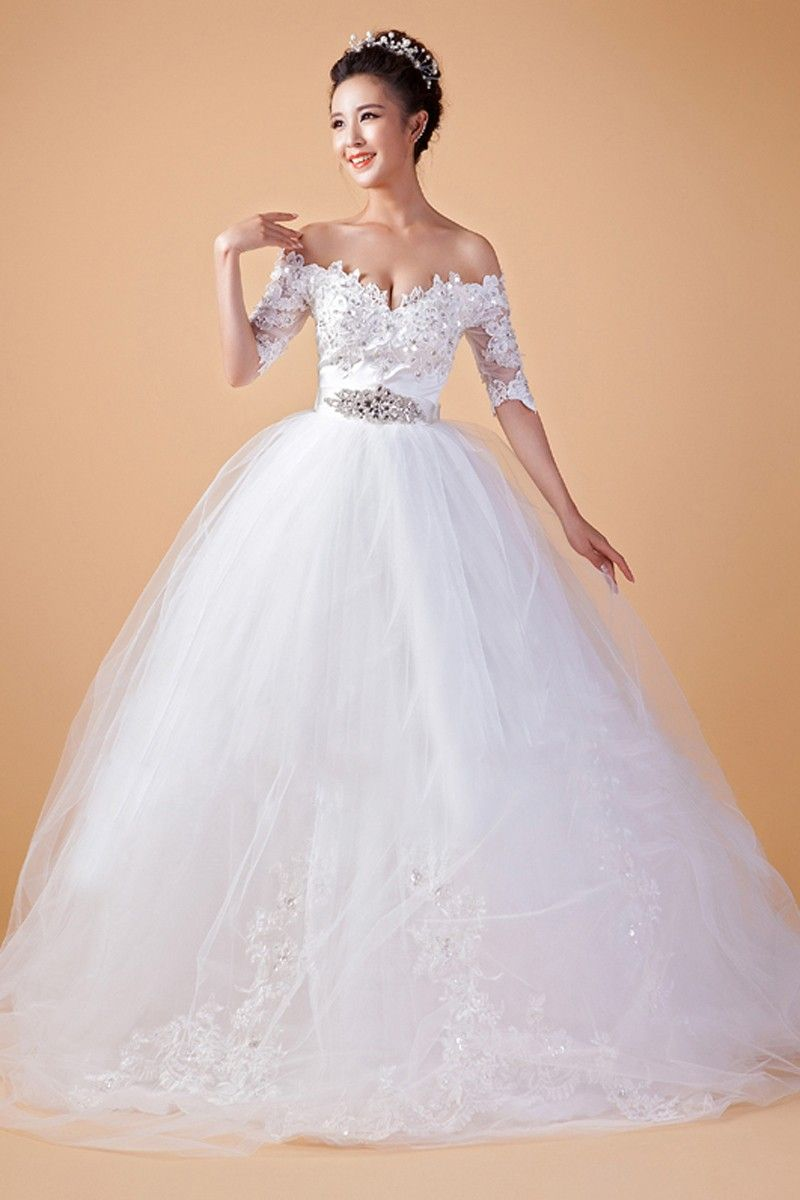 Ball Gown Wedding Dresses Off Shoulder Sleeves : Ball gown off the shoulder natural court train length